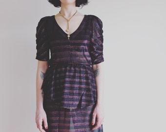 70's black sheer metallic striped dress with peplum