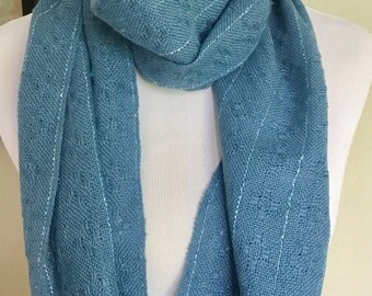 Hand woven cotton linen scarf, blue hand woven long scarf,  hand woven cotton scarf, ready to ship.