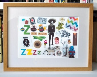 Limited Edition Alphabet Collage Print With Mount: Z Is For...  Original, Vintage-Themed, Unframed