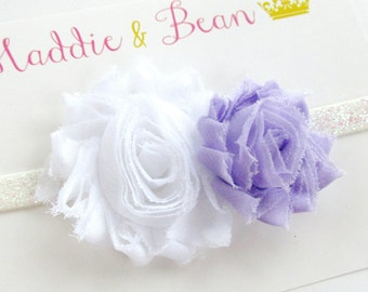 Baby Headband, Baby Girl Headband, Whtie Headband, White and Lavender Headband, Toddler Headband, Girls Headband, Glitter Headband, Flowers