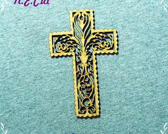 6 Pack of Filigree  Crucifix  75mm from 3mm MDF CTD160