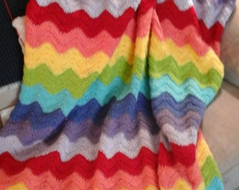Crochet Blanket - Ripple Afghan - Rainbow Blanket - Crochet Afghan - Queen Afghan - Bedding - Home Accents