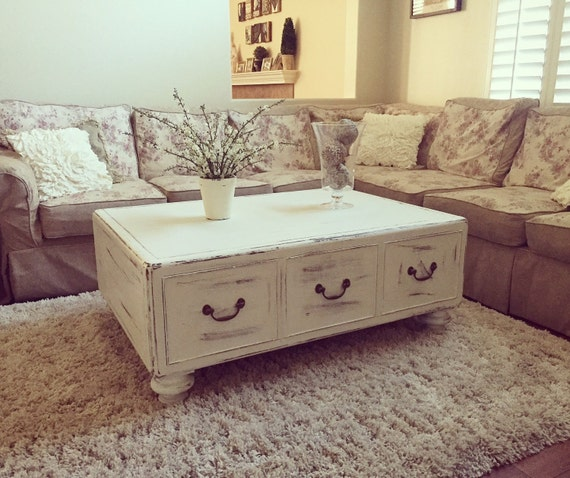 Large Distressed Wood Coffee Table: SAMPLE: Shabby Chic White Distressed Large Solid Wood Coffee