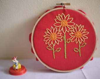 Sunflower handmade embroidery hoop art