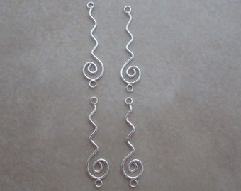 4 sterling silver long swirl link connectors