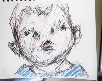 Boy Original Sketch - Pen on Paper