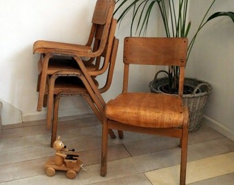 TECTA style vintage bent plywood school stacking chair by Eric Lyons