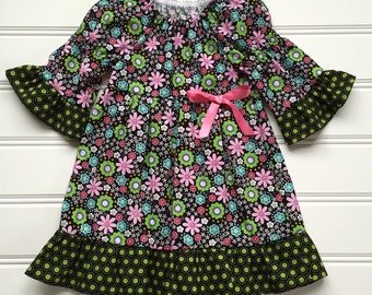 Black Floral Dress, Toddler Dress, Girl Summer Dress, Baby Dress, Black Dress, Little Girl Dress, Ruffle Dress, Toddler Girl Dress