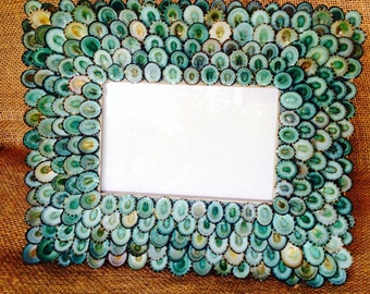 Turquoise Seashell Frame, Sea Shell Frame, Shell Frame, Coastal Decor