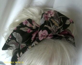 Wide Wire Headbandin Vintage Cotton Fabric