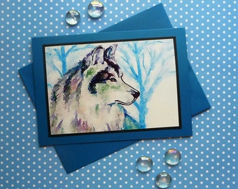 All-Occasion 5x7 Greeting Card, Wolf, Masculine, 4x6 photo, Handmade, Fine Art