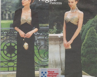 VOGUE 1892 Oscar de la Renta Strapless Gown Bolero Jacket Sizes 6-10 Sewing Pattern + American Designer Sew-In Label ~ ©1996 Uncut RARE