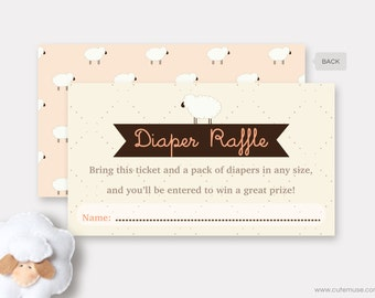 Sheep Diaper Raffle Ticket Printable, Little Lamb Baby Shower Game, Sheep Insert Card, Gender Neutral Diaper Raffle Cards, Instant Download