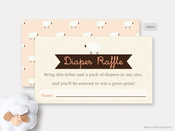 sheep diaper raffle ticket printable, little lamb baby shower game, Baby shower invitations