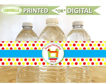 Bounce House Party Water Bottle Labels, Bounce Party Water Bottle Labels, Bounce House Water Bottle Labels, Bounce House Party, WB03