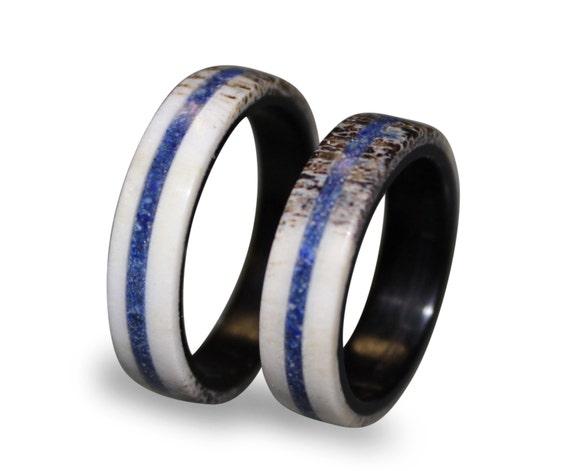 Deer Antler Fashion Ring, Antler Ring with Lapis Lazuli Inlay, Lapis Lazuli Ring, Ebony Wood Ring