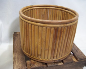 Asian Bamboo Round Planter, Pot, Made in Hong Kong