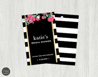 Black, White and Gold Floral Bridal/Baby Shower Tags (2.25x3.5)