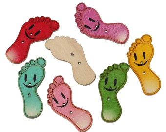 Mixed Colour Wooden Smiling Footprint Buttons. 3.5cm x 16.0mm, Ideal for sewing, scrapbooking, card making and other Craft Projects