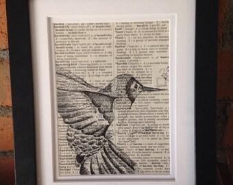 Original Artwork: Hummingbird on vintage dictionary paper