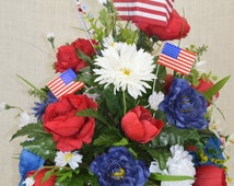 No.C0507 Memorial Day Cemetery Arrangement. Patriotic Cemetery Arrangement, Cone Flower, Grave, Tombstone arrangement,  Cemetery flowers