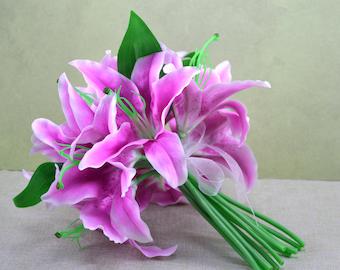 No. B0813 Lilac Lily Wedding Bouquet-Artificial Flower Bouquet, Artificial Flower, Wedding Bouquet, Bridesmaid Bouquet