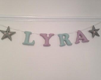 Personalised name garland, felt name banner, nursery gift, new baby name, felt letters for kids nursery / bedroom