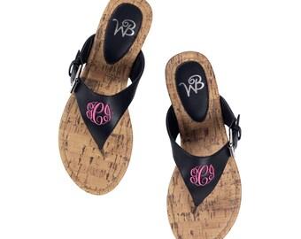 Black Sandals with Monogram