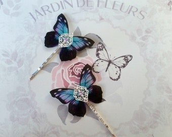 Beautiful Purple & Turquoise Winged Hair Pins (Large)