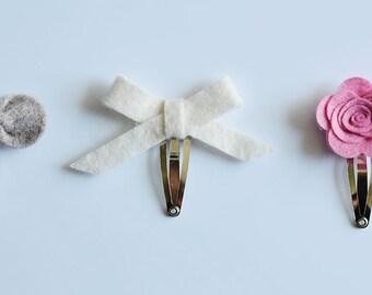 READY TO SHIP Felt flower clips
