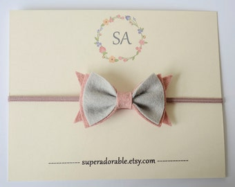 Felt Bow Headband  or CHOOSE your COLOR - Newborn Headband, Baby Headband, Toddler Headband, Girls Headband