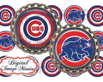 INSTANT Download Chicago Cubs Inspired 4x6 Digital Printable 1 Inch Circle Bottle Cap Images