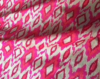 30% SALE Handloom Silk Fabric, Beige Silk Ikat Print,Dress Silk Fabric,Indian Silk By Yard,Tussah Silk ,Indian Block Print Fabric