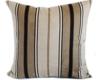 Brown pillow covers, Throw pillows, Couch pillow, Sofa cushion, Stripe pillows, Shams, 16x16, 18x18, 20x20, 22x22, 24x24, 26x26