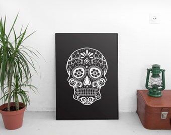 Black Skull Printable, Whimsical Skull, Black Skull Poster, Skull Printable, Beautiful Black Skull, Digital Download, Printable Skull