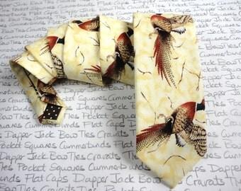 Pheasant print neck tie, Standard width tie, Ties for men, Shooting tie, Game bird tie