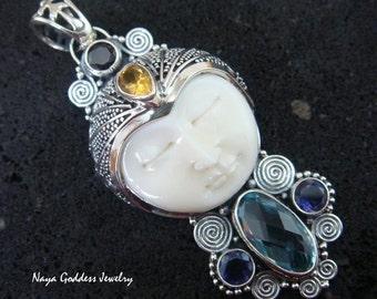 Sterling Silver Blue Topaz, Citrine, Amethyst, Smokey Quartz Naya Goddess Pendant NG-757