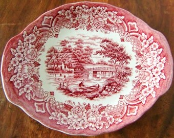 Small Red and White Porcelain Serving Plate, GRINDLEY 'Homeland' / Mid Century English Ironstone Transferware