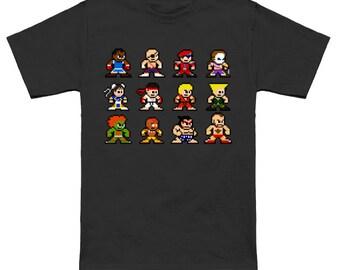 STREET FIGHTER 2 8-Bit T-Shirt SFII Megaman Mashup Ryu Ken Chun-Li Guile
