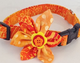 Orange and Yellow Flower Collar for Female Dog or Cat