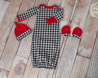 Baby Gown Houndstooth University of Alabama Crimson Red, White, and Black Gown, Hat, Pants Set Roll Tide Rammer Jammer