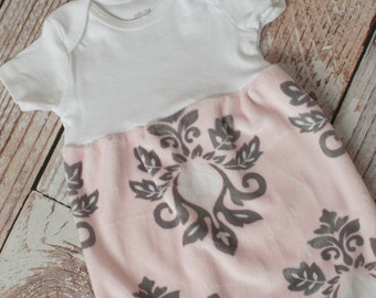 Minky Damask Pink/Grey Baby Gown Baby Shower Gift~ Sizes Preemie, NB, 3 m, 6m~ Personalized Glittery Vinyl or Embroidery