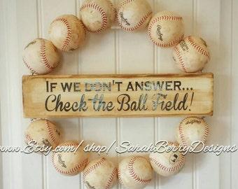 Baseball Wreath - Made with REAL baseballs!!! Coach's Gifts - Baseball Decor - Softball - MLB - Check the Ballfield - Team Wreath - Baseball