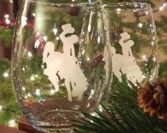 Wyoming Cowboys Stemless Wine Glasses - An Officially Licensed Product of the University of Wyoming - Wyoming Bucking Horse and Rider Etched