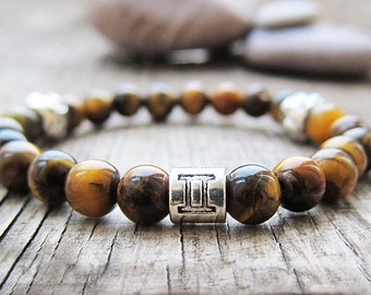 Gemini Birthstones June Birthstone Gemini bracelet Zodiac jewelry Tiger eye bracelet Horoscope bracelet Astrology jewelry Constellation gift