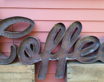 Cursive Coffee Sign made from recycled tin letters great for your restaurant or coffee shop