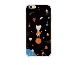 iphone 6 case little prince, iphone 6 case universe, black, cartoon, coffee, space iphone case