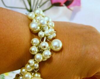 Handmade Pearl Bauble Bracelets, Glass Pearl Bracelets, Handmade Bracelets