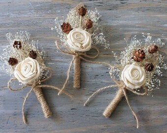 Rustic Boutonniere Groom Boutonniere Groomsman Boutonniere Corsage Pin Mens Wedding Sola Boutonniere  Wedding Accessories Ivory Boutonniere