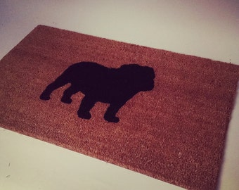 English Bull Dog Silhouette Doormat(size opts)